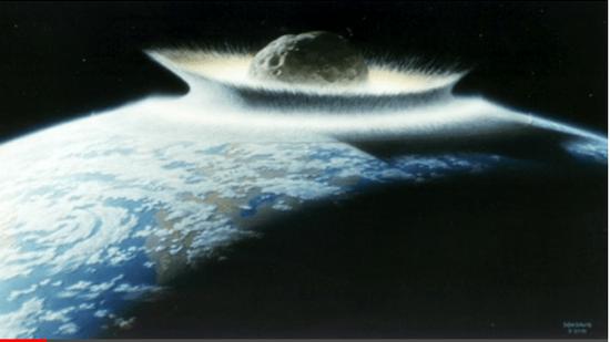 巨大な小惑星が地球に衝突するイメージ
