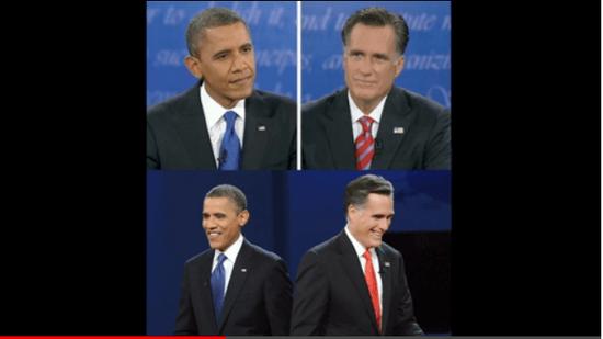 3回あった討論の場のうち2回は オバマ氏は青の ロムニー氏は赤の ネクタイをつけていた