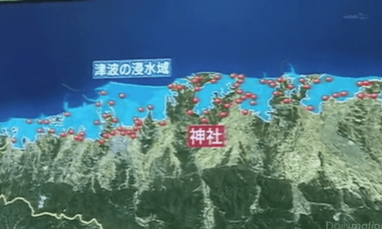 津波の浸水域に点在する神社