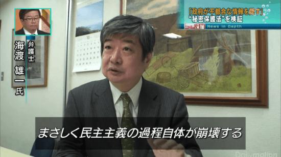 まさしく民主主義の過程自体が崩壊する/弁護士・海渡雄一氏