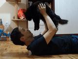 お留守番をしていた「猫のしおちゃん」と「ティーちゃん」に1週間ぶりに会って、毎度恒例の「ドンっ!チュ!!」を堪能する飼い主さん