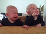 ひとつしかない歯ブラシをめぐって繰り広げられる、双子の赤ちゃんの終わり泣き戦い